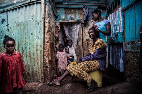 Kibera slum family in Nairobi Kenya
