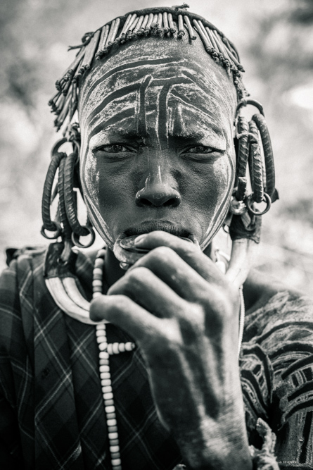 Portrait of Ethiopian man in Omo Valley