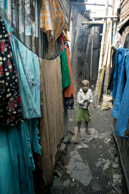 Child in the slum in Bangladesh