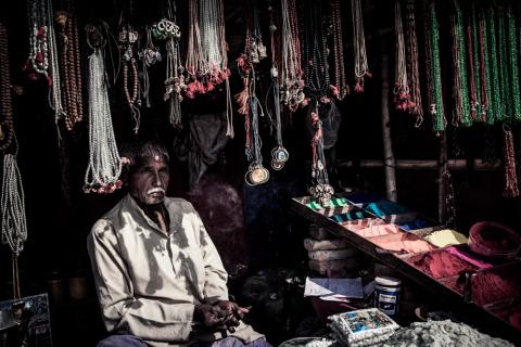 Man selling jewelry in Kathmandu Nepal