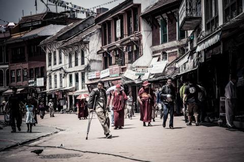 Nepali people in Kathmandu near the temple