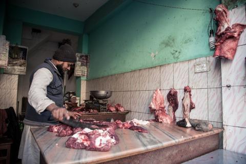 Butcher man in Kathmandu Nepal