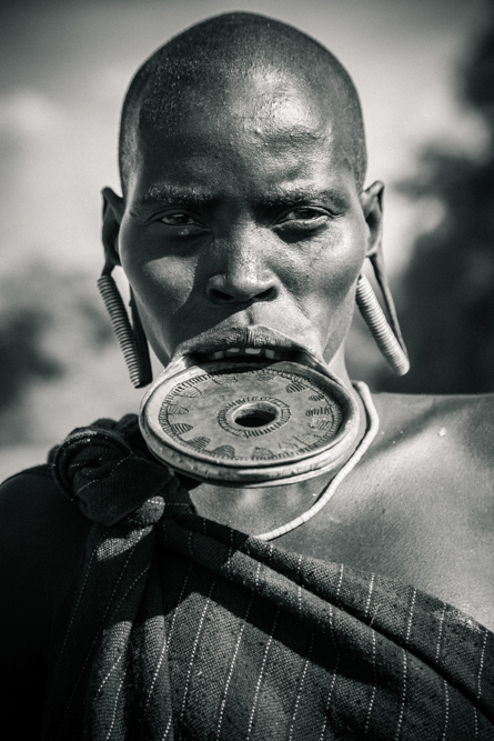Ethiopian man in Omo Valley Africa