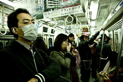 People commuting in Tokyo Japan metro