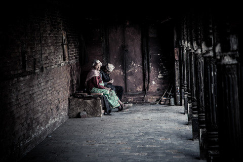 Nepali woman and man in Kathmandu